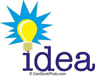 concept, mot, lumière, idée, illustration, vecteur, ampoule