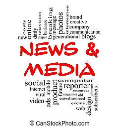 concept, mot, &, média, nuage noir, nouvelles, rouges