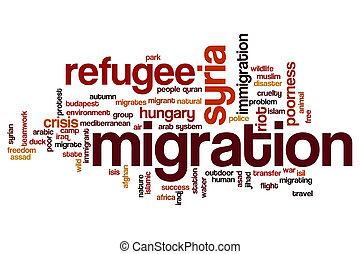concept, mot, migration, nuage