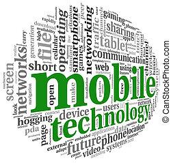 concept, mot, mobile, étiquette, technologie, nuage