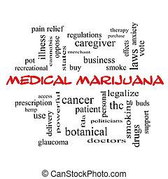 concept, mot, monde médical, marijuana, casquettes, nuage, rouges