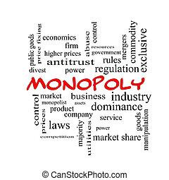 concept, mot, monopole, casquettes, nuage, rouges