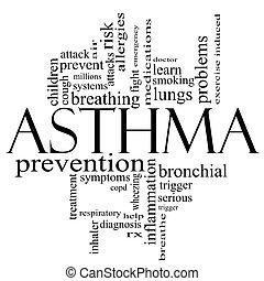 concept, mot, noir, asthme, nuage blanc