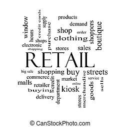 concept, mot, noir, blanc, vente au détail, nuage