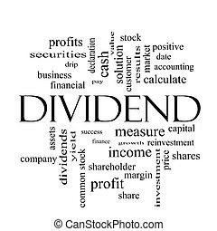 concept, mot, noir, dividende, nuage blanc