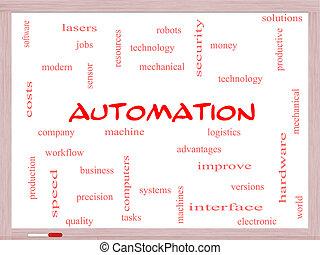 concept, mot, nuage, automation, whiteboard