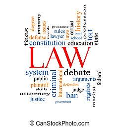 concept, mot, nuage, droit & loi