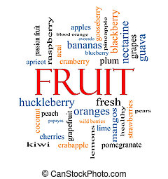 concept, mot, nuage, fruit