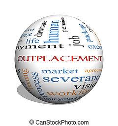 concept, mot, outplacement, sphère, nuage, 3d