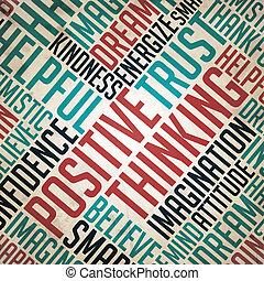 concept, mot, pensée, positif, collage., -, grunge