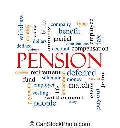 concept, mot, pension, nuage
