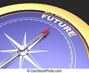 concept, mot, pointage, résumé, aiguille, avenir, future., compas