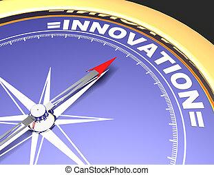 concept, mot, pointage, résumé, aiguille, innovation., innovation, compas