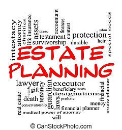 concept, mot, propriété, casquettes, planification, nuage, rouges