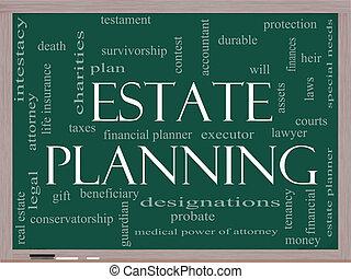 concept, mot, propriété, tableau noir, planification, nuage