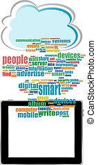 concept, mot, réseau, vecteur, social, communicateur, nuage