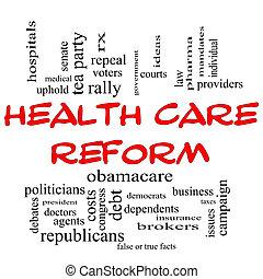 concept, mot, reform, casquettes, santé, nuage, rouges, soin