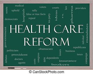 concept, mot, reform, tableau noir, santé, nuage, soin