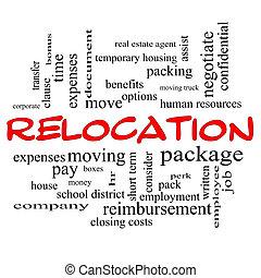 concept, mot, relocalisation, casquettes, nuage, rouges