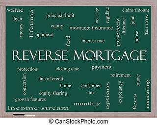 concept, mot, renverser, hypothèque, tableau noir, nuage