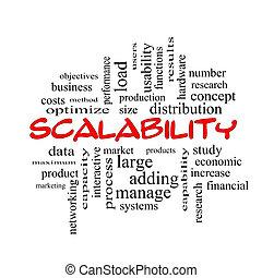 concept, mot, scalability, casquettes, nuage, rouges
