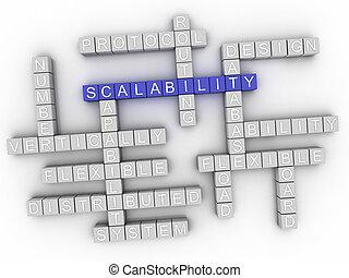 concept, mot, scalability, nuage, 3d