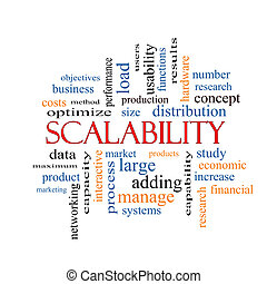 concept, mot, scalability, nuage