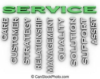 concept, mot, service, image, questions, fond, nuage, 3d
