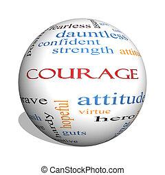 concept, mot, sphère, courage, nuage, 3d