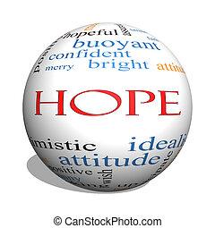 concept, mot, sphère, espoir, nuage, 3d
