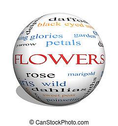 concept, mot, sphère, fleurs, nuage, 3d