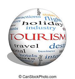 concept, mot, sphère, tourisme, nuage, 3d