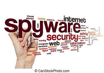 concept, mot, spyware, nuage