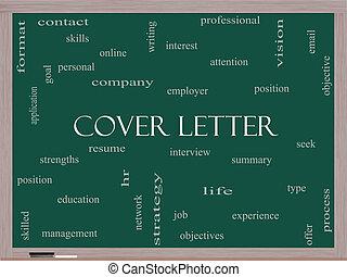 concept, mot, tableau noir, couverture, lettre, nuage