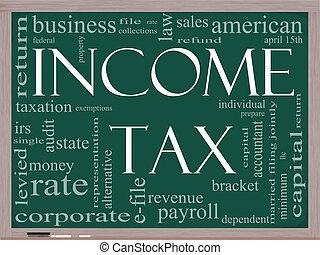 concept, mot, tableau noir, revenu impôts, nuage