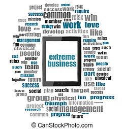 concept, mot, tablette, business, collage, texte, business., pc, extrême