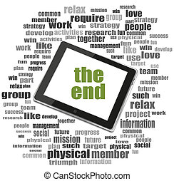 concept, mot, tablette, collage, texte, pc., social, nuage, end.