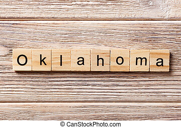 concept, mot, texte, oklahoma, écrit, bois, block., table