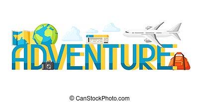 concept, mot, touriste, articles, voyage, illustration