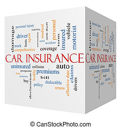 concept, mot, voiture, cube, assurance, nuage, 3d