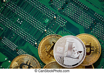 concept., motherboard., bitcoin, cryptocurrencies, cryptocurrency, la plupart, important, illustration, pile, 3d