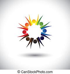 concept, motivé, bureau, employés, vecteur, ensemble.