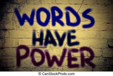 concept, mots, avoir, puissance