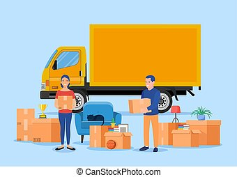 Delivery service concept. moving house. Family moving concept. Happy cartoon couple carries things out of the truck. Man holding box. Relocate to new home or office. Vector illustration in flat style