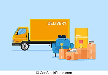 Delivery service concept. moving house. Pile cardboard boxes with truck. Relocate to new home or office. Vector illustration in flat style
