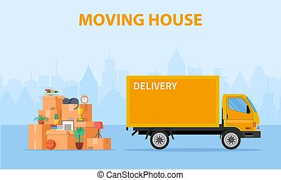 Delivery service concept. moving house. Pile cardboard boxes with truck on cityscape background. Relocate to new home or office. Vector illustration in flat style