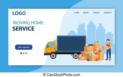 Man with cardboard boxes. Delivery service concept. moving house. Pile cardboard boxes with truck. Landing page. Relocate to new home or office. Vector illustration in flat style