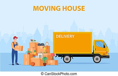 Man with cardboard boxes. Delivery service concept. moving house. Pile cardboard boxes with truck on cityscape background. Relocate to new home or office. Vector illustration in flat style