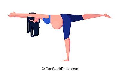 concept., mulher, grávida, ioga, desporto, condicão física