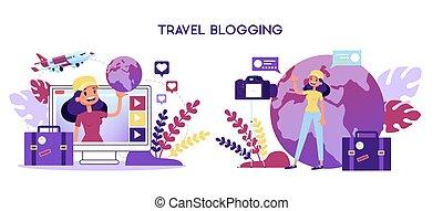 concept., mulher, tiroteio, viagem, vídeo, blogger, blog